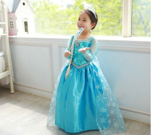Robe-Deguisement-Costume-La-Reine-des-Neiges-Frozen-Elsa-Anna-Enfant-Fille-Girls