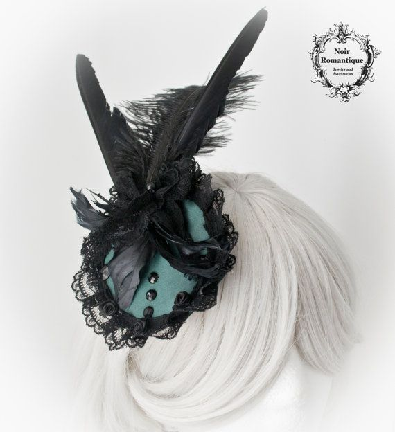 Satin cypress rococo fascinator-Gothic by NoirRomantique on Etsy