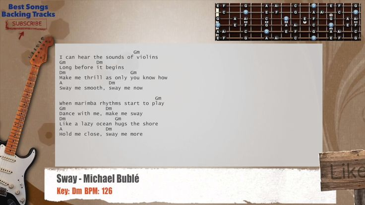 Sway - Michael Bublé Guitar Backing Track with chords and lyrics