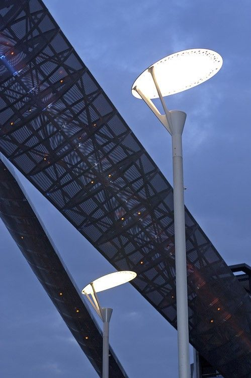 Streetlights in Millenium Square, Coventry, England.