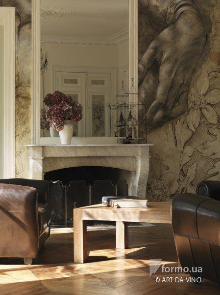 Настенная Роспись гостиной с декоративной фактурой Леонардо да Винчи Одесса