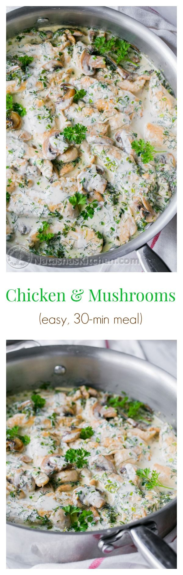 Thick-sliced golden mushrooms and juicy chicken bathed in a flavorful and creamy herb sauce…. A 30 minute meal @natashaskitchen