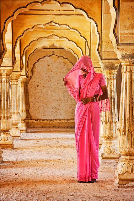 Hindu woman at Amber Fort temple in Jaipur, Rajasthan, India by David Davis