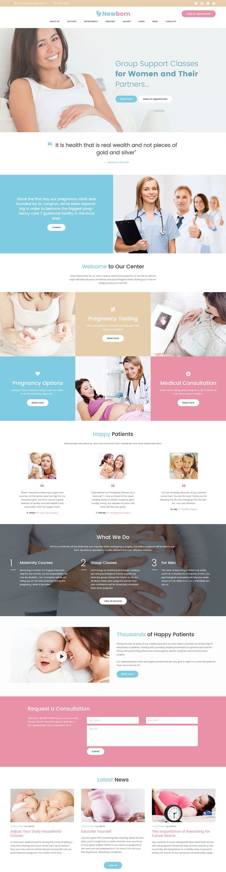 #Pregnancy #Support #Center #WordPress #Theme.Newborn is a well-documented and fully editable Pregnancy WordPress Theme, manufactured for medical websites. Showcase your customers how your pregnancy center works with a major TM Gallery that allows you create an awesome portfolio. Let them be up-to-date to the schedule of the maternity courses, pregnancy testing, and group support with timetable and allow your clients to make a request for a consultation directly on the main page