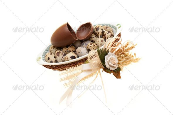 Stock photo for sale at Photodune: Plate With Quail Eggs And Broken Chocolate Egg