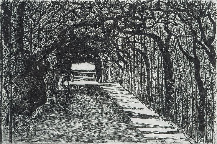 Inari Krohn: Puistossa, 1984, etsaus, 23x32 cm, edition 6/40 - Bukowskis Market 5/2016