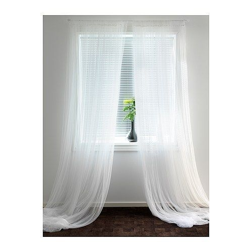 Sheer, transparent fabric; lets the light through. Comprises: 2 net curtains. The slot heading allows you to hang the curtains directly on a curtain rod. Machine wash, max 40°C, mild process. IKEA of Sweden.   eBay!