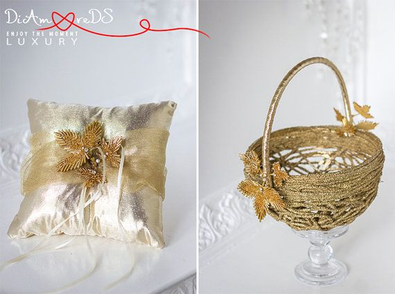 Wedding ring pillow & flower girl basket gold от DiAmoreDSLUXURY #wedding guestbook, #guestbook, #wedding glasses, #champagne glasses, #unity candle, #wedding champagne glasses, #wedding accessories, #bride and groom champagne , #bride accessories, #gold wedding, #wedding unity candle, #guipure wedding, #wedding toasting glasses, #wedding flutes, #personalized toasting flutes, #unity candles, #personalized wedding glasses, #wedding, #wedding cake server and knife, #garters, #handkerchief