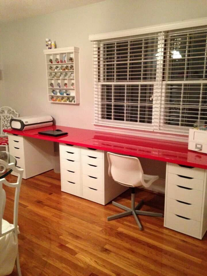 Alex pull drawer units and their longest tabletop for a DIY his and her desk!