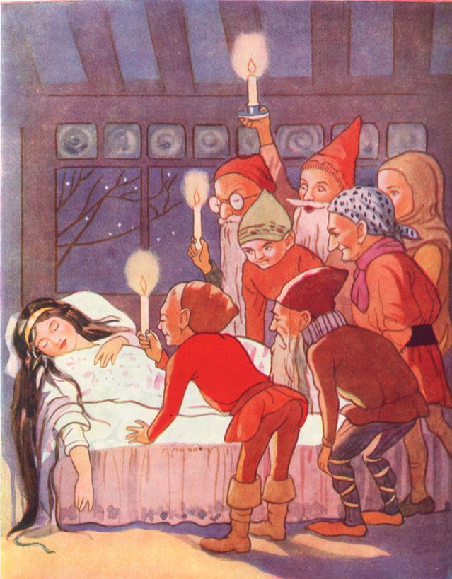 'The Seven dwarfs stood round the sleeper, holding their candles over her to see her better.' Snow White Illustration from Fairy Tales - With Illustrations by Margaret Tarrant #fairytales #Grimm #SnowWhite