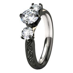 So much more beautiful than traditional :) Victoria Black Titanium Engagement Ring