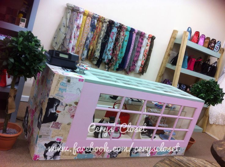 Our beautiful handmade up cycled vintage counter filled with goodies! #decoupage #marylinmonroe #upcycle #vintage #mendandmakedo