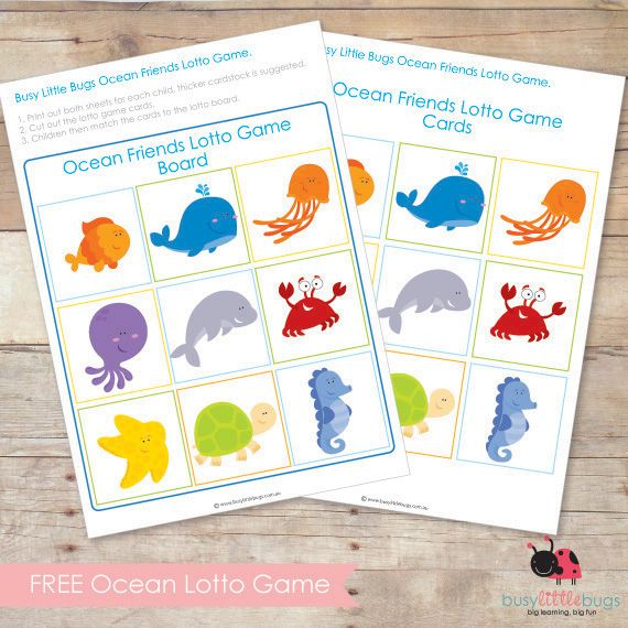 FREE OCEAN FRIENDS LOTTO GAME