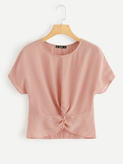 43db34d05d0a Shop Twist Front Solid Top online. SheIn offers Twist Front Solid Top &  more to fit your fashionable needs.