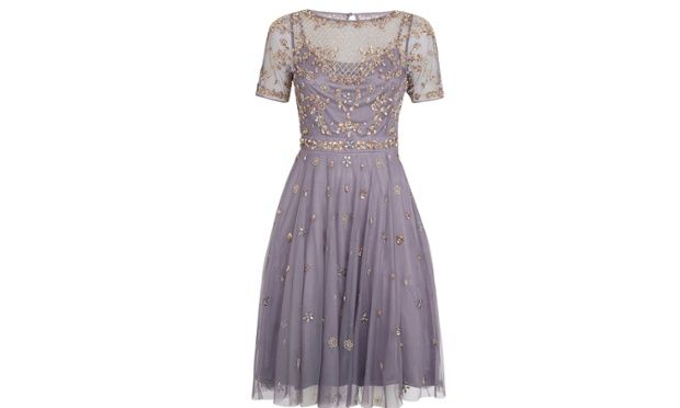 Lavender frock with gold embellishment by Monsoon