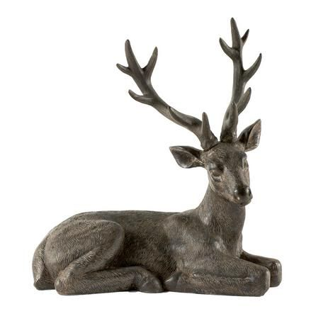 Rustic Ramble Collection Sitting Stag Ornament | Dunelm