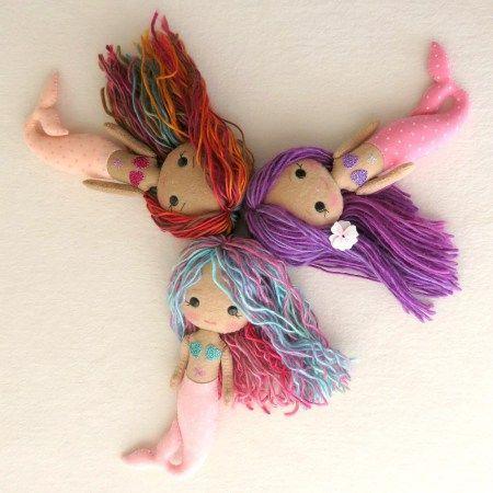 Patrón para hacer muñecas sirenas de fieltro o tela
