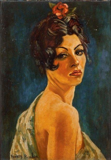 Francis Picabia (1879-1953), Espagnole, huile sur carton, signée, vers 1941-1942, 75,5 x 53 cm. Frais compris : 403 518 €. Lyon, samedi 13 juin. Anaf - Jalenques - Martinon et Vassy SVV. Cabinet Maréchaux.