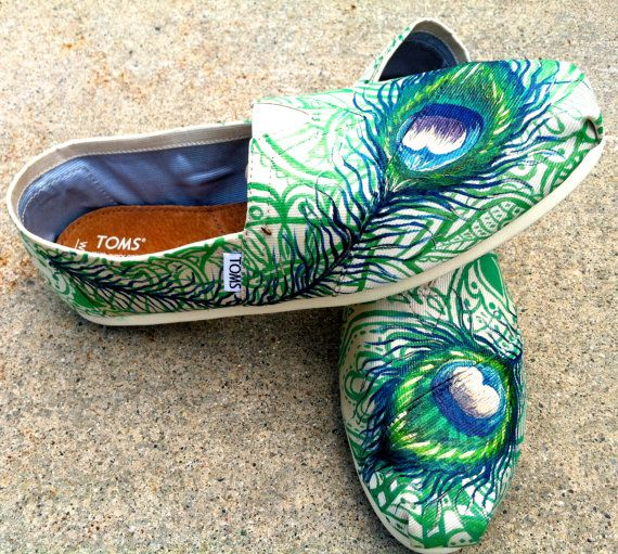 Made to Order Custom Painted TOMS Peacock by TheMermaidsChest, wish I could paint these myself!