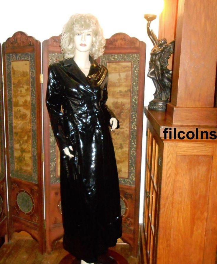 Vtg Shiny S Black X Long Pvc Vinyl Trench Coat Raincoat