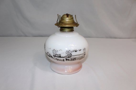1950s P N A Dorset Eagle Currier Ives Milk Glass Hurricane Oil Lamp Currier Ives Hurricane Oil Lamps Oil Lamps