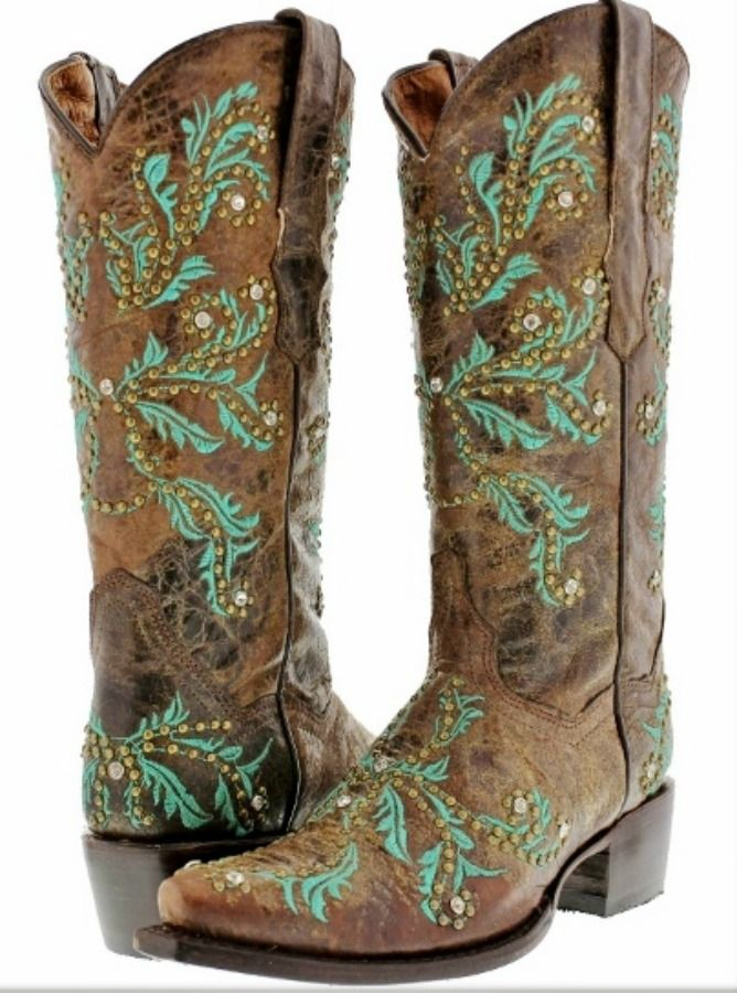209a9d2cab1 COWGIRL STYLE BOOTS Turquoise Embroidery Rhinestone Studded Brown ...
