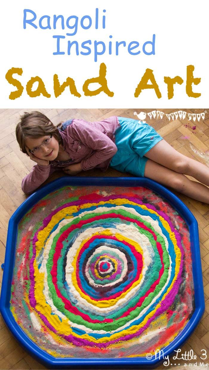 Colourful sand art and Rangoli patterns are a great way to explore Diwali for kids. Make your own coloured sand for beautiful sand pictures.
