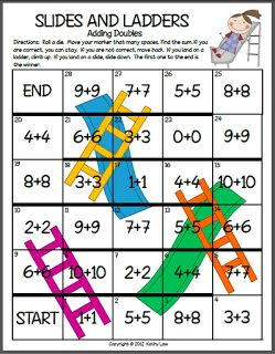 First Grade a la Carte: Slides and Ladders Goes Math!  Adding doubles and multiplying doubles.  FREEBIE