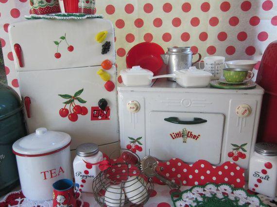 Vintage Red Cherry Kitchen Toy Tin Child by LittleRedPolkaDots