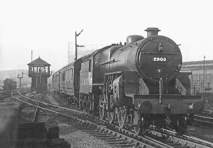 LMS 5P/4F 2-6-0 'Crab' No 2903 is seen passing Saltley Sidings Signal Box as it approaches Saltley station at the head of local passenger service on 5th July 1947.