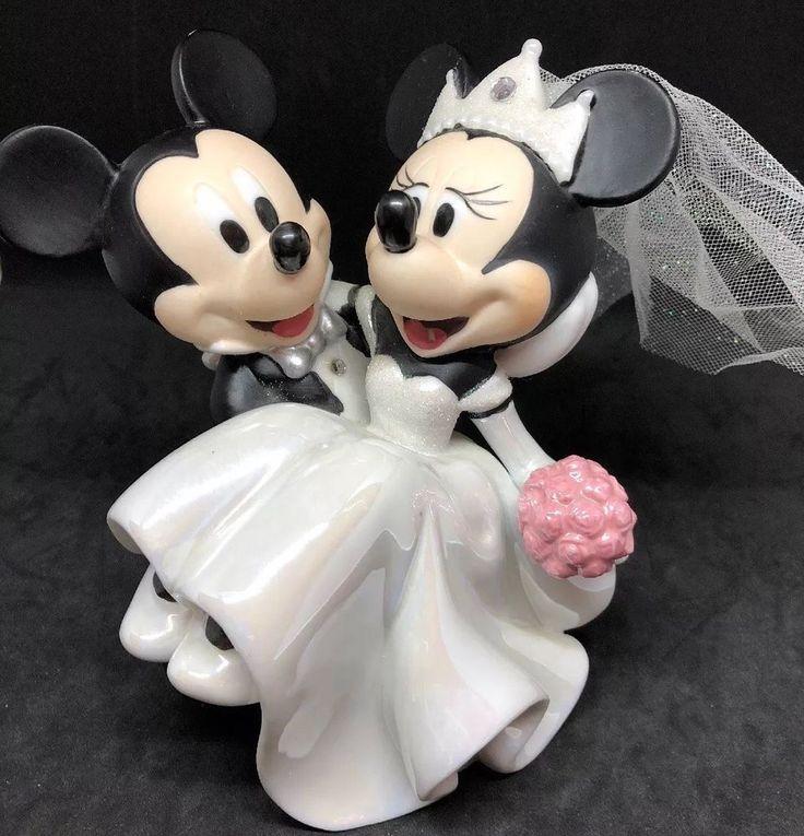 Disney parks mickey minnie wedding couple figurine cake