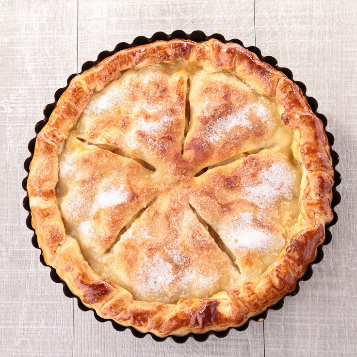 Aclassic apple pierecipe - piled high with apples and nestled in a flaky sugar-topped crust.