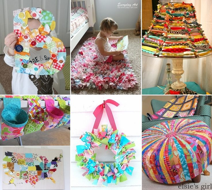 15 creative ideas to recycle fabric scraps for home decor for Images of decorative items made from waste material