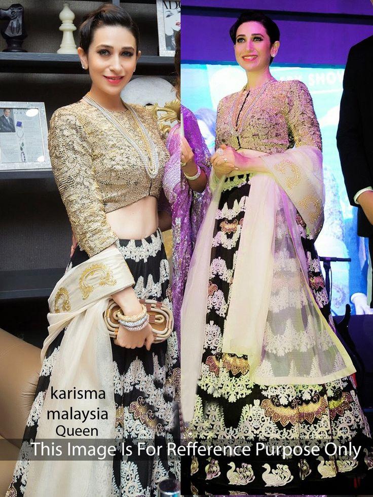 Karisma Kapoor Moss & Velvet Machine Work Black Semi Stitched Bollywood Designer Lehenga - RK425 In Stock: Rs 3,499