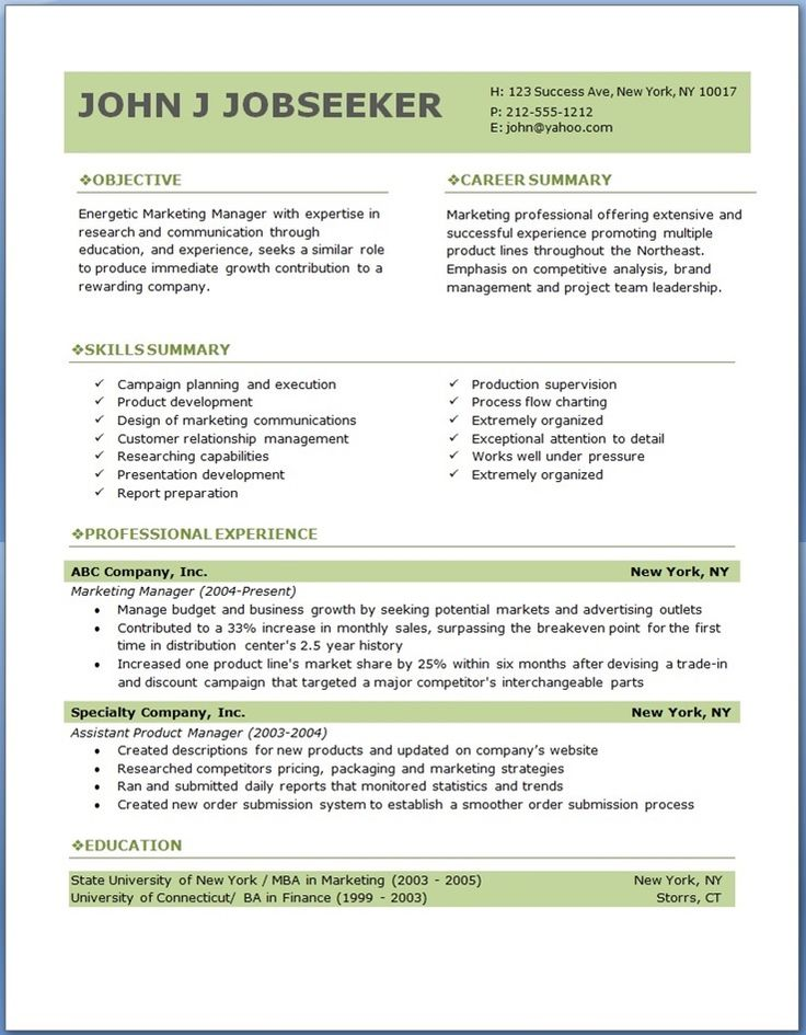 download sample resume template