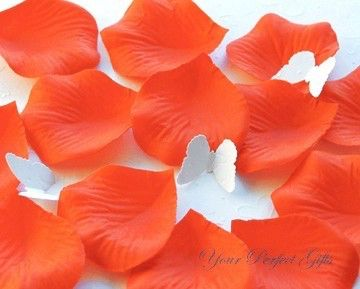pcs persimmon bright hot orange silk rose petals wedding flower favor decoration rp006 by