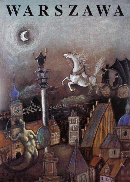 Józef Wilkoń 'Warsaw' -  Polish Poster, 1998