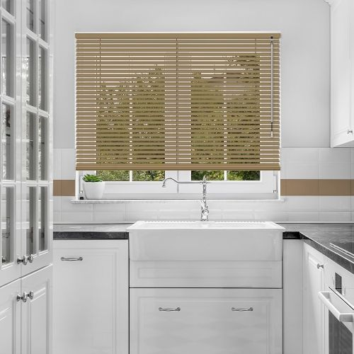 A gentle brown coloured venetian blind, available in a 25mm slat width