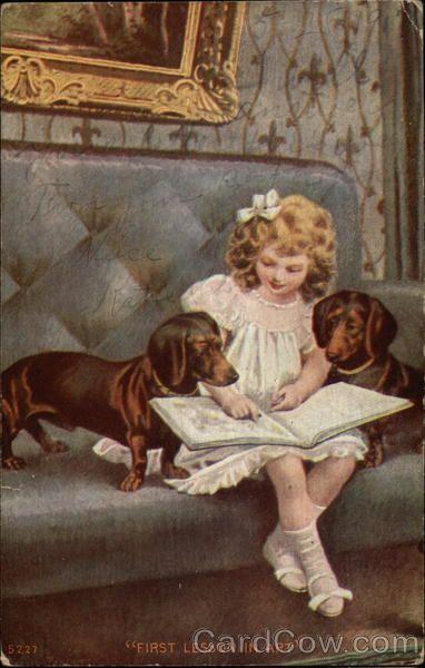 Antique Postcard. Dachshund.  UvU