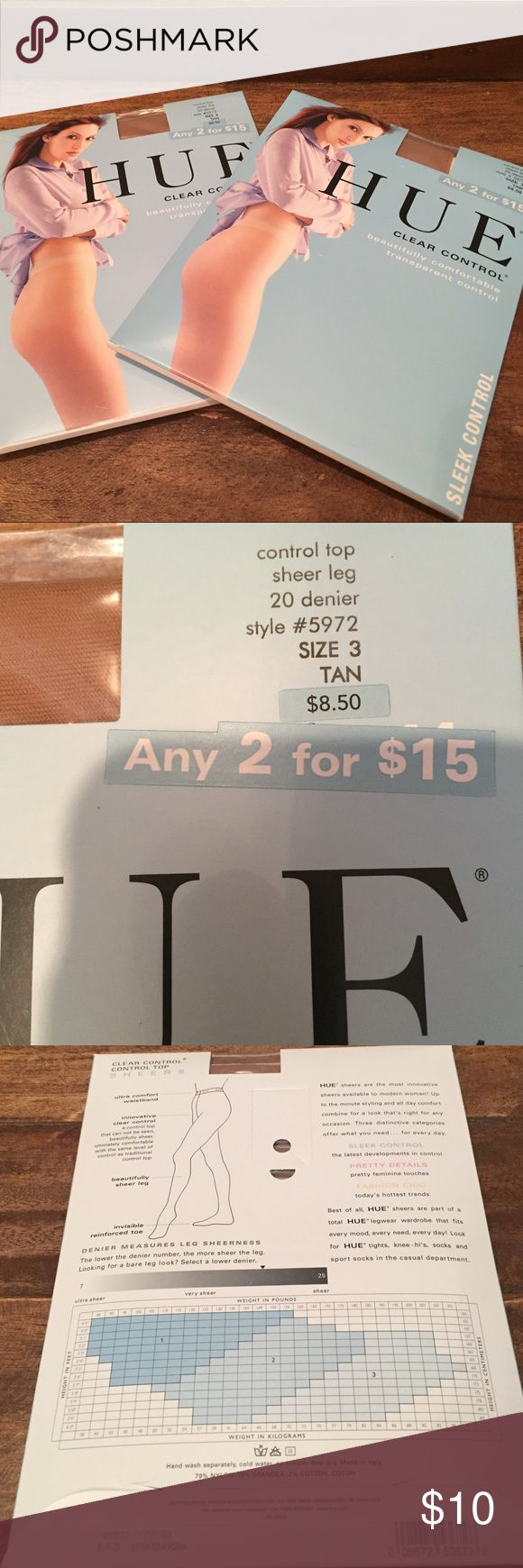 New HUE Clear Control Pantyhose Brand new, set of 2 pairs! HUE Clear Control Pantyhose. Both pairs are size 3 in the color Tan. HUE Accessories Hosiery & Socks