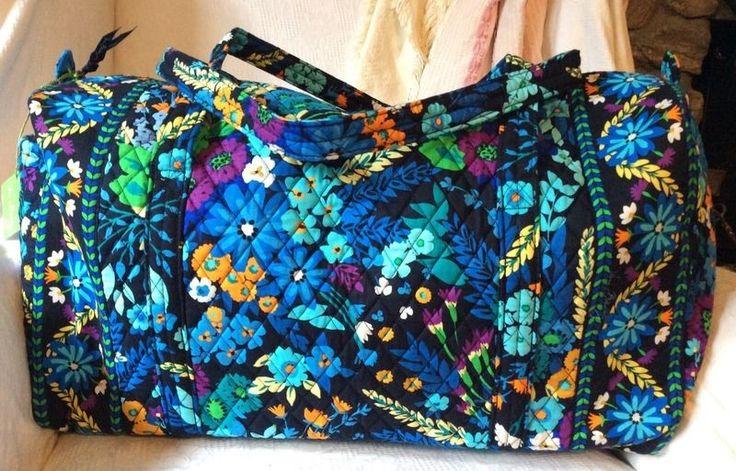 VERA BRADLEY Midnight Blues Large Duffel Bag ~Duffle Travel Bag CarryOn Luggage #VeraBradley