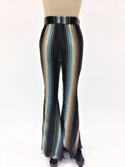 e224fa88a6 Purple   Black Serape High Waist Super Bell Bottom Pants