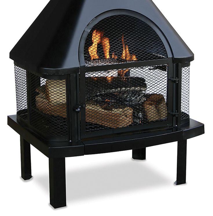 Wood Burning Fireplace Heater Steel Portable Outdoor Pit Patio Backyard Chimney  #WoodBurningFirePlaces