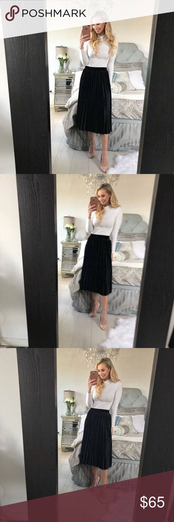 Black Velvet Pleated Skirt This skirt is the fashion trend for 2018, A-line wonder boast, midi-length and perfect for Spring! Material: Cotton, Polyester Fabric: Velvet Waistline: Empire Size            Waist (Width)     Waist (Relaxed)   Skirt Length One Size    22                         36                       28.7 Little Pearls of Life Skirts Midi