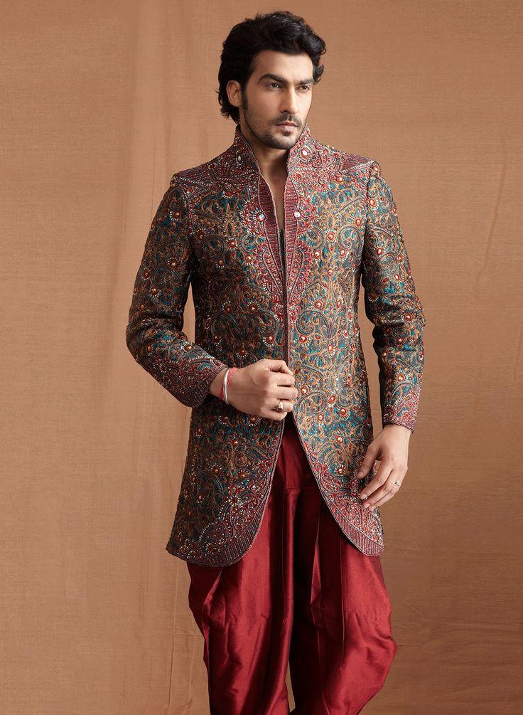 blue-and-multi-coloured-banaras-silk-jacquard-and-art-dupion-silk-sherwani-and-churidar.jpg (1200×1640)