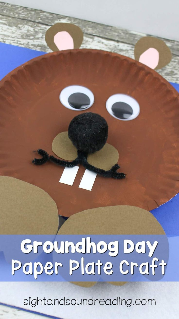 Groundhog Day Paper Plate Craft https://www.sightandsoundreading.com/groundhog-day-paper-plate-craft/?utm_campaign=coschedule&utm_source=pinterest&utm_medium=Mrs.%20Karle%27s%20Sight%20and%20Sound%20Reading%7C%20Literacy%20Lesson%20Plans%20and%20%20educational%20activities&utm_content=Groundhog%20Day%20Paper%20Plate%20Craft It is fun to make crafts for Groundhog's Day.  Today we have an adorable Groundhog Day Paper Plate Craft.  Will he see his…