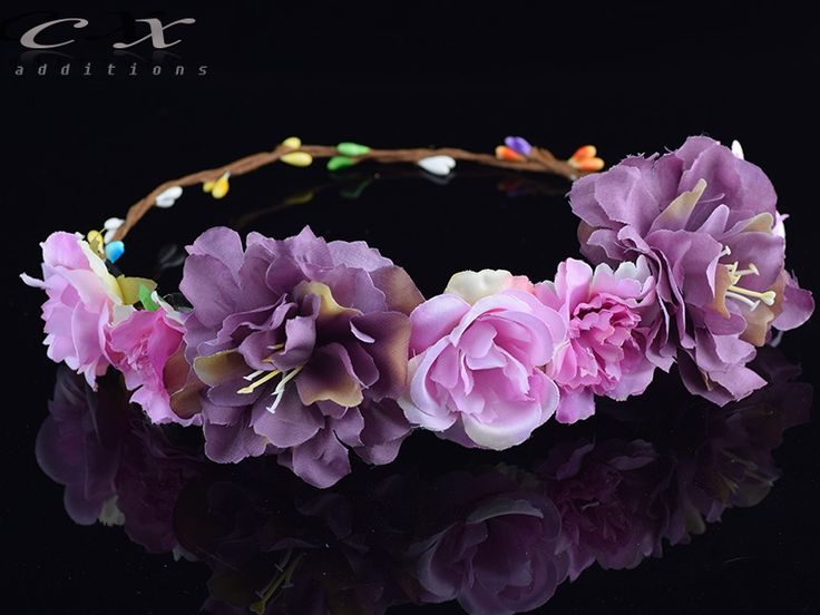 2.65$ Watch now - http://alinh6.shopchina.info/go.php?t=32683469218 - CXADDITIONS Rose Carnations Peony Flower Halo Bridal Floral Crown Hair Band Wreath Mint Head Wreath Wedding Headpiece Bridesmaid #SHOPPING