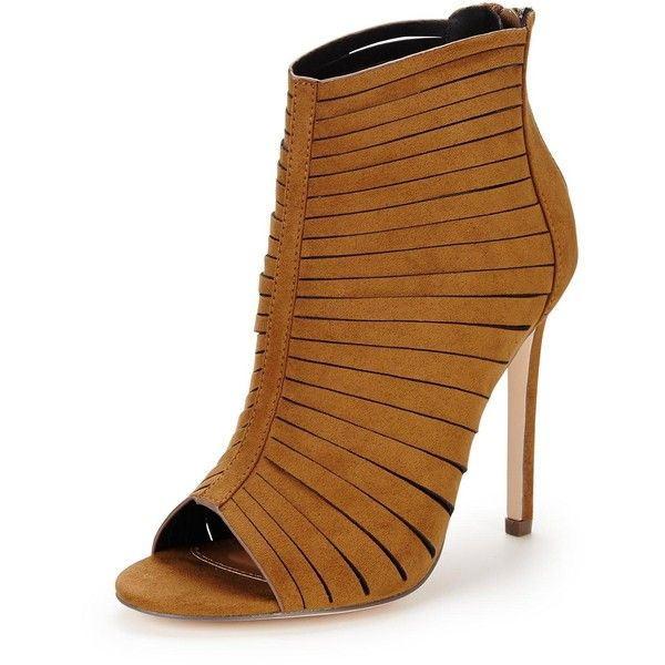 V By Very Holloway Caged Heeled Sandals (£15) ❤ liked on Polyvore featuring shoes, sandals, cage sandals, caged high heel shoes, tan heeled sandals, high heeled footwear and cage shoes