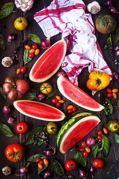 Watermelon, Basil and Tomatoes