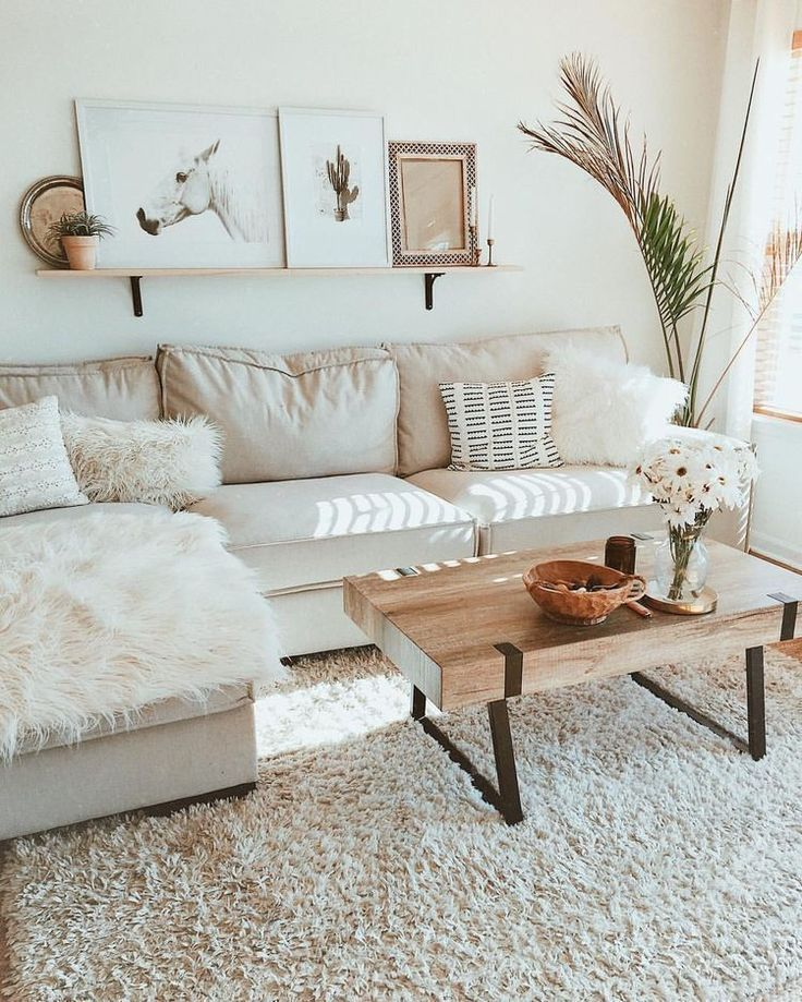 Neutral Boho Living Room With Rustic Coffee Table Minimal Neutral Living Room Decor Minimalist Living Room Minimalist Living Room Design Apartment Living Room